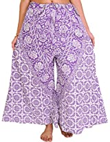 Exotic India Palazzo Pants from Pilkhuwa with Printed Flowers and Elephants - Color Passion PurpleGarment Size Free Size