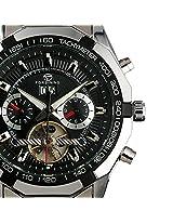 ESS Men's Black Tourbillon Design Racing Style Sport Automatic Self-Wind Up Wrist Watch WM303