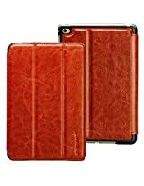 Jisoncase iPad mini 4 Leather Case Auto Wake/Sleep Smart Cover with Stand Function and TPU Back for Apple 2015 New Released iPad mini 4th Genaration, Reddish brown JS-IM4-02R20