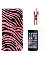 VanGoddy Mary Zebra Print Portfolio Self Stand Wallet Case Cover For Apple iPhone 6 Plus (Pink) + AUX Cable + Matte Screen