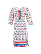 Karni Women's Cotton Off-White & Green Kurti