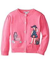 Hartstrings Little Girls' Cardigan Sweater with Button Front, Boho Pink, 6X
