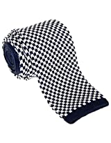 "Retreez Vintage Casual Houndstooth Check Men's 2.4"" Skinny Knit Tie - Navy Blue and White"