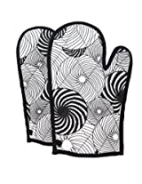 ShalinIndia Cotton Oven Mitts Printed Set of 2 Quilted Cooking Gloves,OG02-5005,Black,8 x12 Inch
