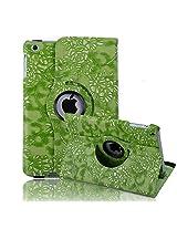 HDE iPad Mini Tablet Case Rotating Flip Stand Folding Magnetic Cover Designer for Apple Mini 2/3 Retina(Green Flower)