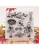 1pc Smile Girl Transparent Clear Silicone Stamp/Seal for DIY scrapbooking/photo album Decorative clear stamp sheets
