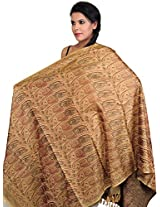 Exotic India Womens Pure Silk-Wool Shawls ,Khaki ,Free Size