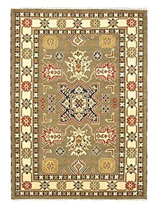 Hand-Knotted Royal Kazak Wool Rug, Dark Khaki Grey, 5' 9