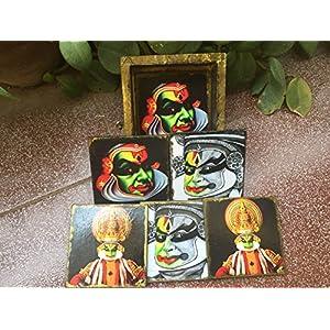 RTKS Creations Coaster Set(6 Pics with one holder) - Kathakali