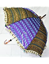 Rajasthani Traditional Fine Embroidery work Silk Umbrella Parasol 30 X 34 Inches