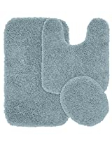 Garland Rug 3-Piece Jazz Shaggy Washable Nylon Bathroom Rug Set, Basin Blue