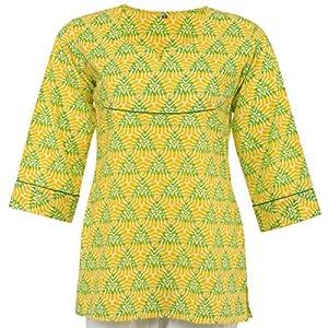 Olivia Women's Goemetric Print Yellow Short Kurti