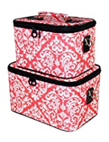 Ever Moda Cosmetic Train Case Set, Damask Print (Coral Pink)