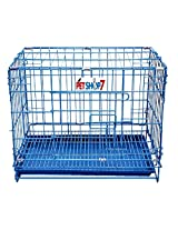 "Petshop7 Dog Cage Light Blue Imported ""17"" Inch For Puppy With Removable Tray"