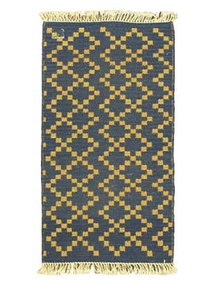 Hand Woven Natural Plush Kilim, Navy, 2' x 3' 3