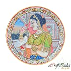 eCraftIndia Lady-Bird Etched Decorative Plate (9 IN, White, golden color and red)