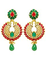 Peora Red Rim Floral Earrings for Women