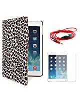 VanGoddy Mary Smart Cover Portfolio KickStand Smart Case For Apple iPad Air (Leopard) + AUX Cable + Matte Screen