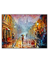 TIA Creation Beautyfull Street View Canvas 0233 Print on Cotton Canvas 31inch x 22inch