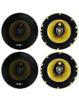"4) New PYLE PLG6.3 6.5"" 560-Watt 3-Way Car Audio Coaxial Speakers Stereo Yellow"