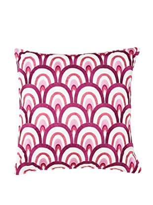 Trina Turk Chevron Dots Retro Pillow, White/Fuchsia, 18