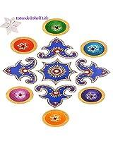 Ghasitaram Gifts Decorative Acrylic Rangoli 1506 with Diyas and Kaju Katli