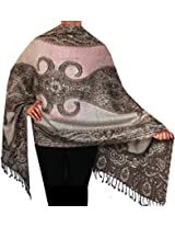 Womens Jamawar Wool Shawl Scarf Indian Clothing Accessory (78 x 28 inches)