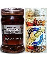 Prawn Lover's Combo - CHAVADY's Prawn Pickle 300 Gms & LIGER Prawn Chips 50 Gms