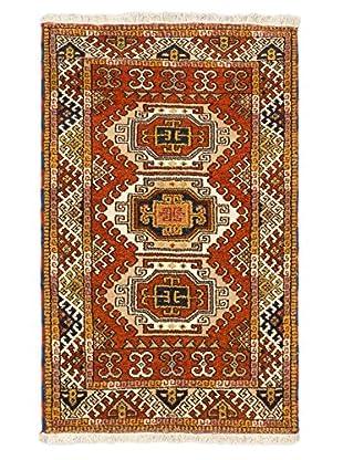 Hand-Knotted Royal Kazak Rug, Cream, Dark Orange, 3' 1
