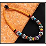 Orange thread choker with multiple color beads