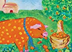 Oopsy Daisy Orange Oink Stretched Canvas Wall Art by Maryjo Olsen, 14 by 10-Inch