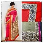 Mandira Bedi Pink & Golden Bollywood Replica Saree
