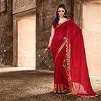 Red Georgette Printed Saree.