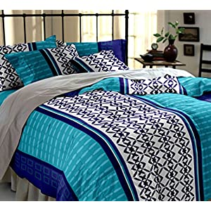 Home Ecstasy 100% Cotton Printed Bedsheet Set 3021 (Blue,Double)