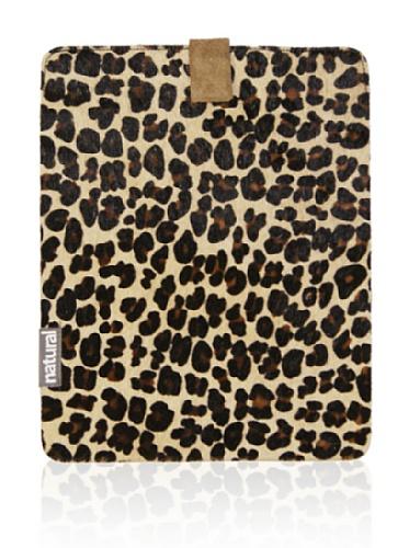 Natural iPad Cowhide Case (Leopard Print)