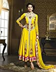 Yellow Top Georgette With Santoon Bottom & Chiffon Dupatta Resham Embroidery Work Anarkali Salwar Kameez Suit