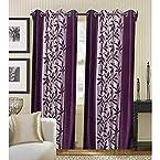 Mebelkart Beautiful Purple Leaf Design With Boarder Curtain (Set Of 2 Pcs)
