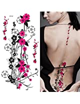 Supperb Temporary Tattoos Hot Pink Plum Flowers