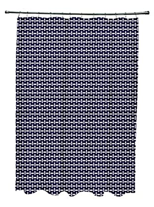 e by design Woven Pattern Shower Curtain, Blue