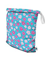 Planet Wise Roll Down Wet Diaper Bag, Aqua Petals, Large