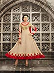 VandV-Karishma Kapoor Party Wear Cream Embroidered Anarkali Suit