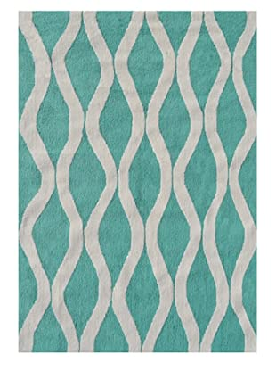 The Rug Market Squiggle Rug (Turquoise/White)