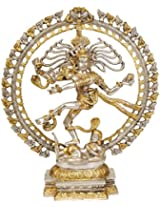 Nataraja (In Golden and Silver Hues) - Brass Statue
