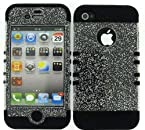 Apple IPhone 4 4S 3 in 1 Hybrid Case Cover + Skin Kool Kase Rocker by MandMWireless Glitter Clear BK-A042-H