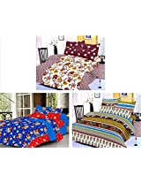 Nature Made Pack of 3 Green & Maroon & Blue Printed Double Bed Sheets 250 TC