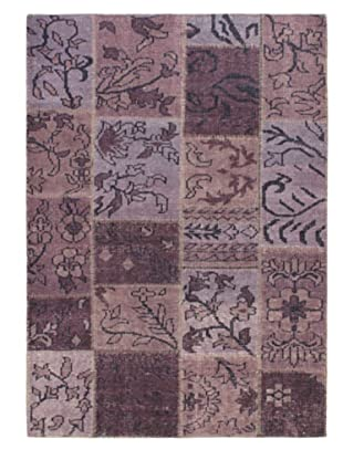 Hand-Knotted Ushak Patch Wool Rug, Purple, 4' 7