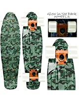 """CAMOUFLAGE GREEN"" With Glow In The Dark Wheels - 22"" Penny Style Mini Cruiser Skateboard"