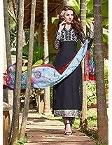 Rozdeal Women Latest Cotton Black Long Salwar Kameez