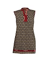 Karni Women's Cotton Black & Brown Kurti