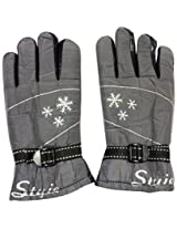 Graceway Unisex Leather Bike Gloves (5G29, Silver)